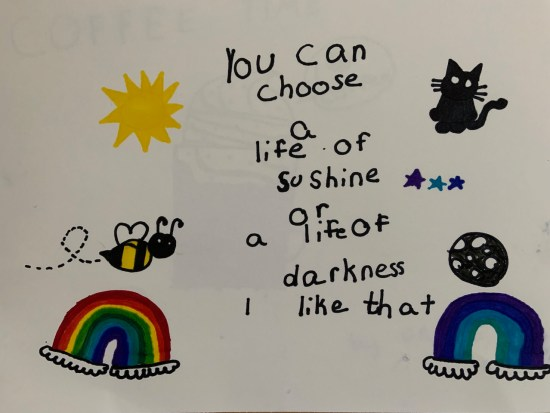 You can choose a life of sunshine or a life of darkness artwork by the Little Miss