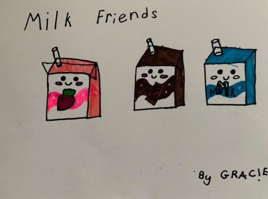 Milk friends, artwork by the Little Miss