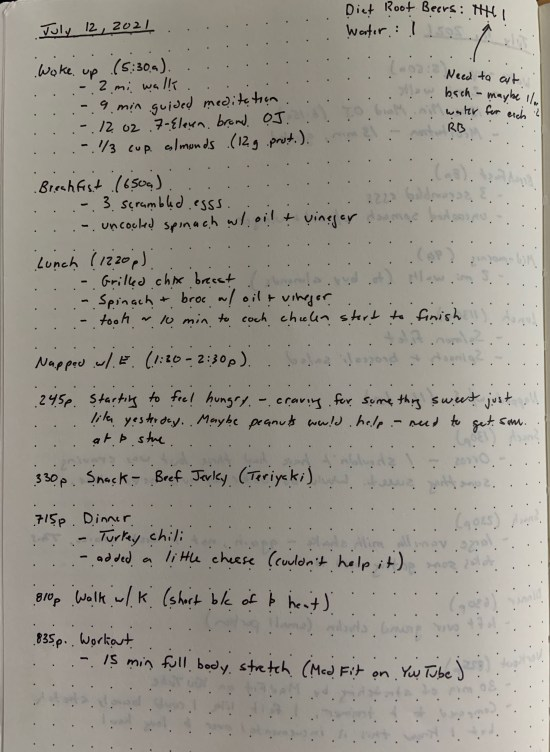 A page from my habit journal