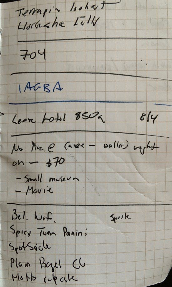 messy page from field notes notebook