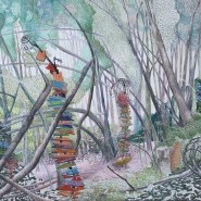 """A Precarious Stacking in the Forest; colored pencil, brush-tip marker and graphite on paper; 22"""" x 30""""   2015"""