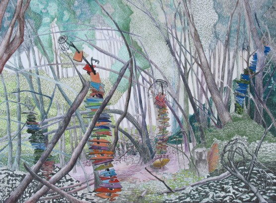 "A Precarious Stacking in the Forest; colored pencil, brush-tip marker and graphite on paper; 22"" x 30"" 