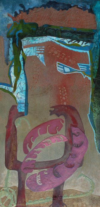 "Three Ways to Contain Growth, acrylic, cut paper, colored pencil and brush-tip marker on panel, 16"" x 32"" 2015 