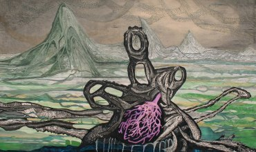 """To Survive in the Swollen Plain; cut paper, acrylic, and graphite on panel; 36"""" x 60"""" 2015"""