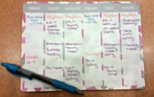 Sample schedule from summer 2016.