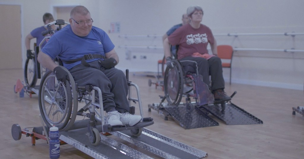 John at wheelchair fitness class in Kris The power of suport