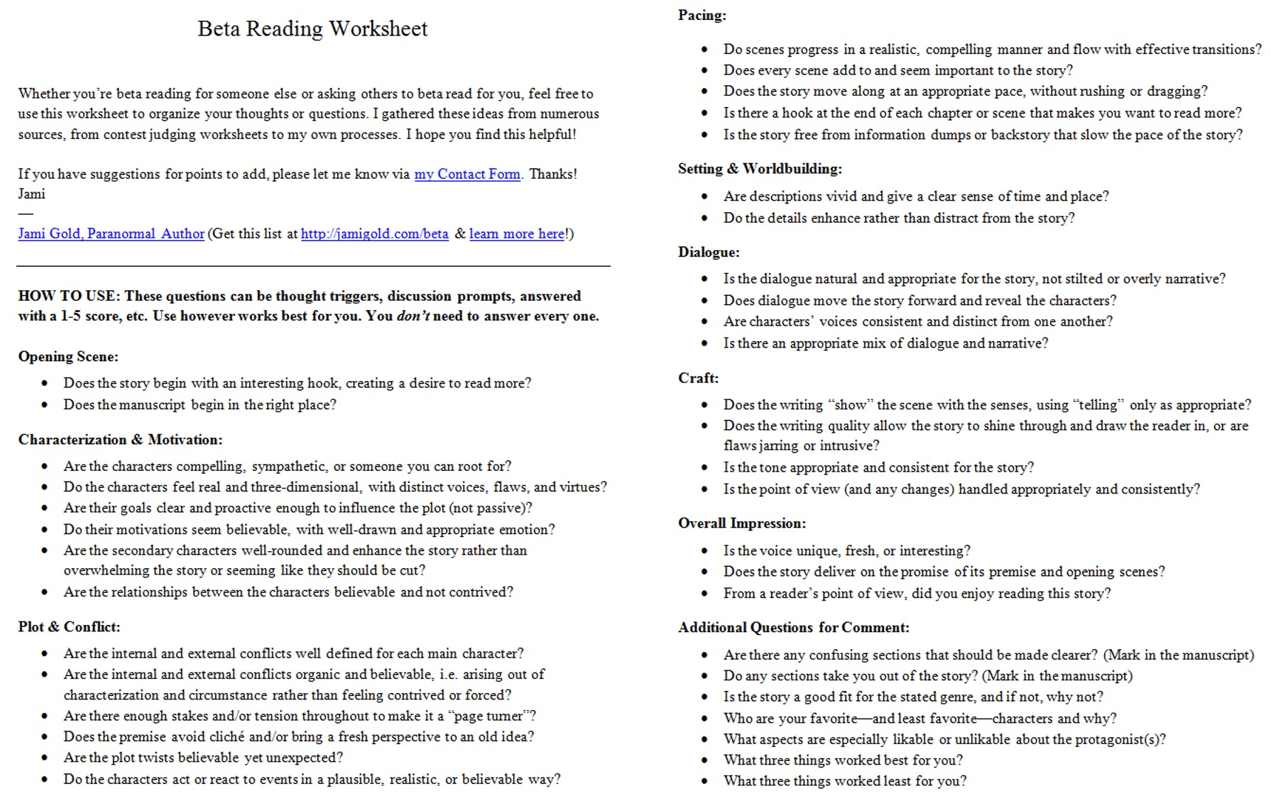 Introducing The Beta Reading Worksheet