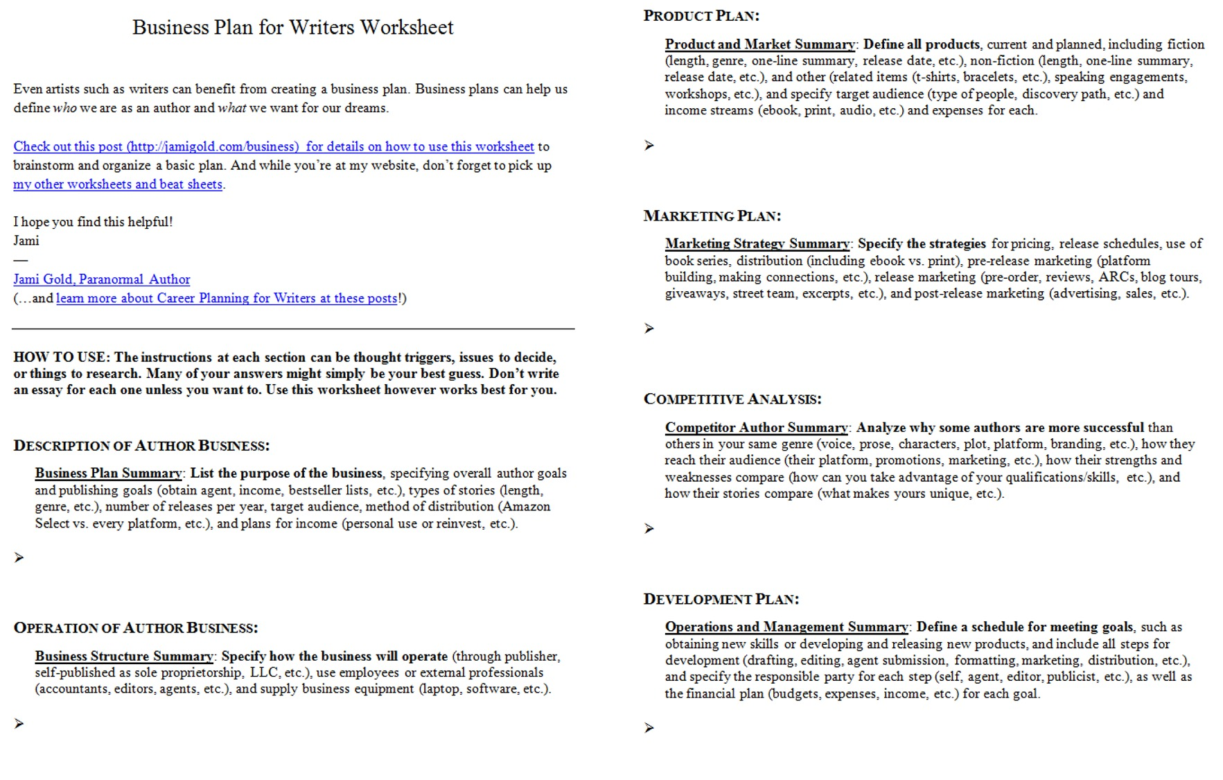 Introducing The Business Plan For Writers Worksheet