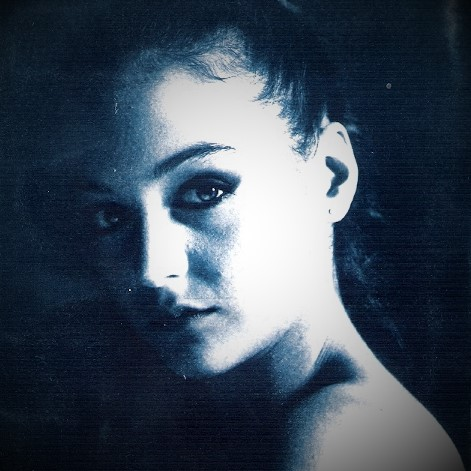 beautiful portrait print with the ancient technique of cyanotype