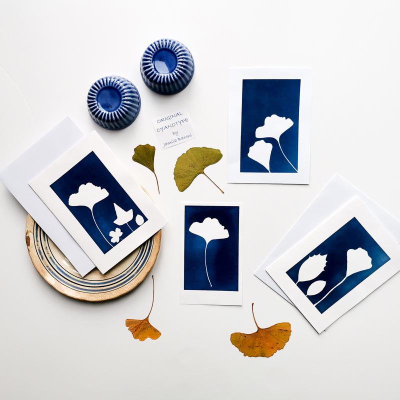 printing with the ancient technique of cyanotype or printing with the sun