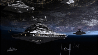 Star Destroyers near Coruscant