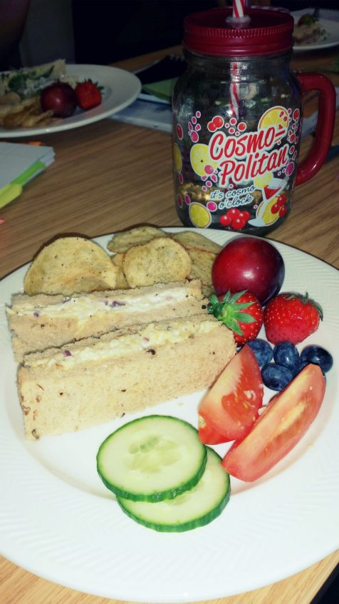 At lunch time we were actually on a Copywriting day course and so lunch was put on, I have a handful of crisps, two cheese and onion sandwiches, some fruit and salad