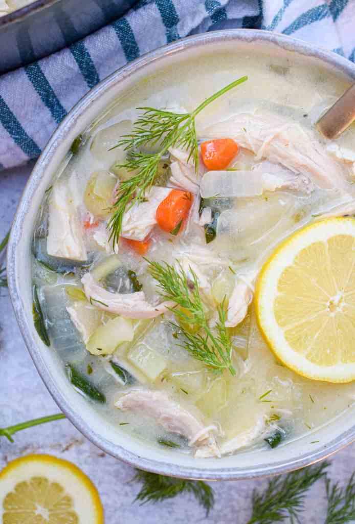 Bowl of Whole30 Greek Lemon Chicken Soup