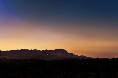 Twillight silhouettes the mountains bordering Northern Thailand and Myanmar