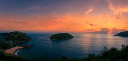 Sunset panorama from Yannui Viewpoint, Phuket