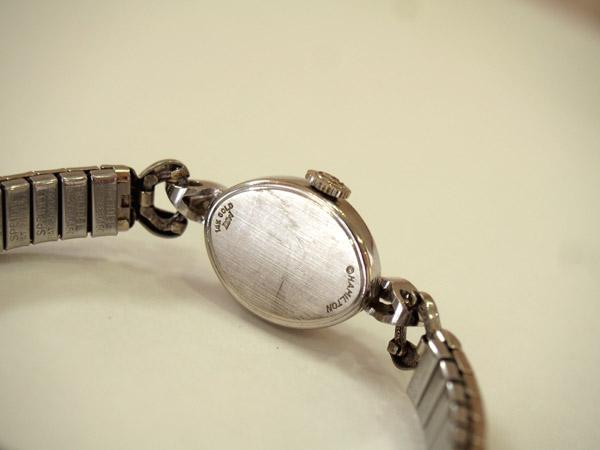 ハミルトン 14K金無垢 ダイヤモンド入り レディース 機械式手巻き