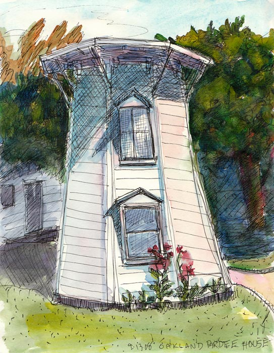 """Pardee House Water Tower, ink & watercolor 8x6"""""""