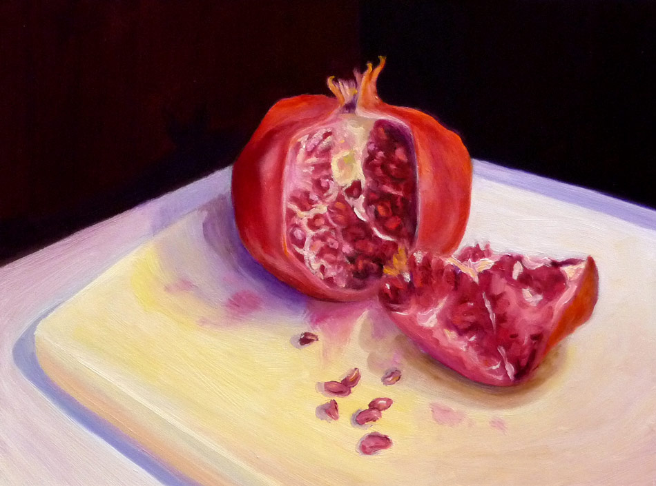 Pomegranate and seeds, oil on Gessobord, 9x12