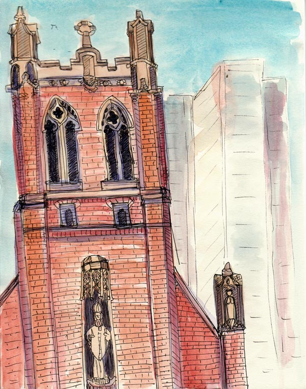 St. Patrick's Church, ink & watercolor 8x6""