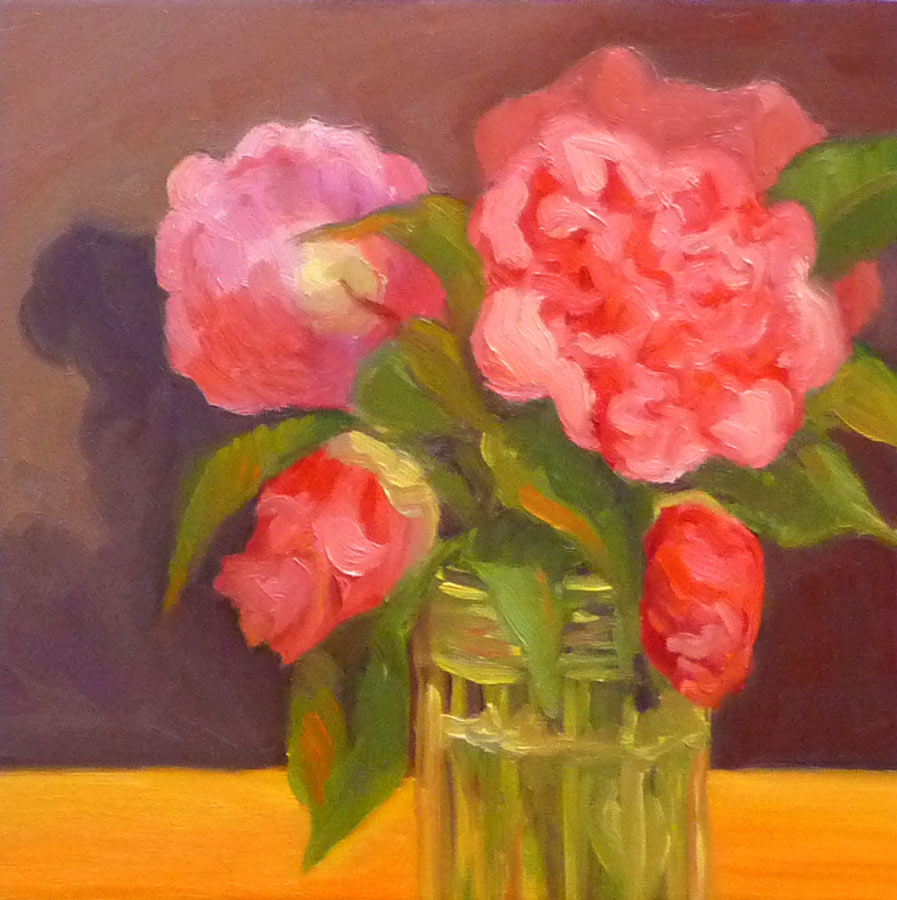 Camellia #3, Oil painting on panel, 8x8""