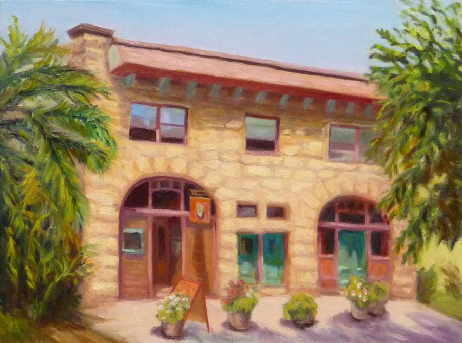 Port Costa Bull Valley Restaurant, Oil on panel, 9x12