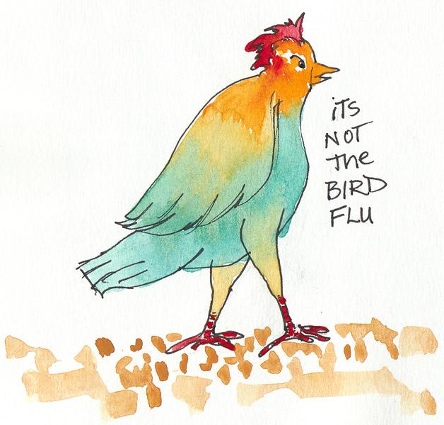 Not Bird Flu, ink and gouache