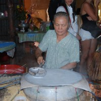 Watching the making of Edible Rice Paper