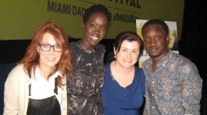 Screenwriter Margaret Nagle, actors Kuoth Wiel (right),Arnold Oceng (left), and myself.