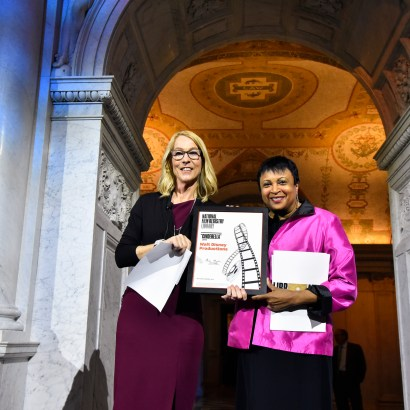 "WASHINGTON, DC - JUNE 20: (L-R) Mary Walsh, Managing Director of the Disney Animation Research Library, accepting the National Film Registry Certificate from Librarian of Congress Dr. Carla Hayden at Disney's ""Cinderella"" Library of Congress National Film Registry Ball at The Library of Congress on June 20, 2019 in Washington, DC. (Photo by Kris Connor/Getty Images for Disney)"