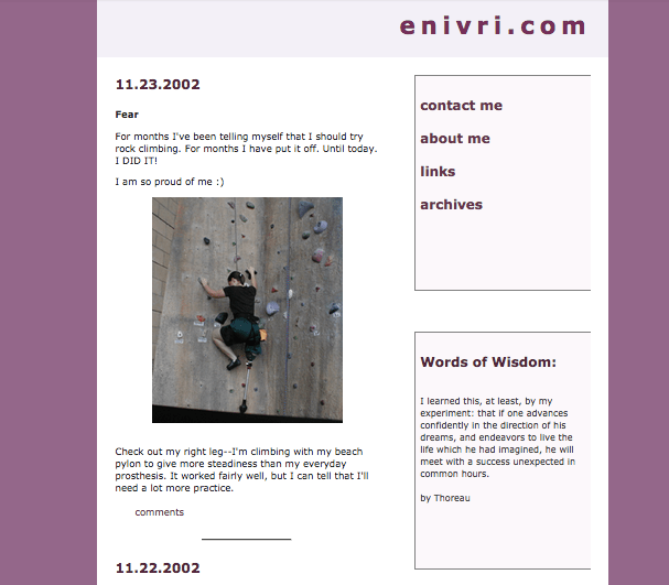a screenshot from enivri.com (in 2002)