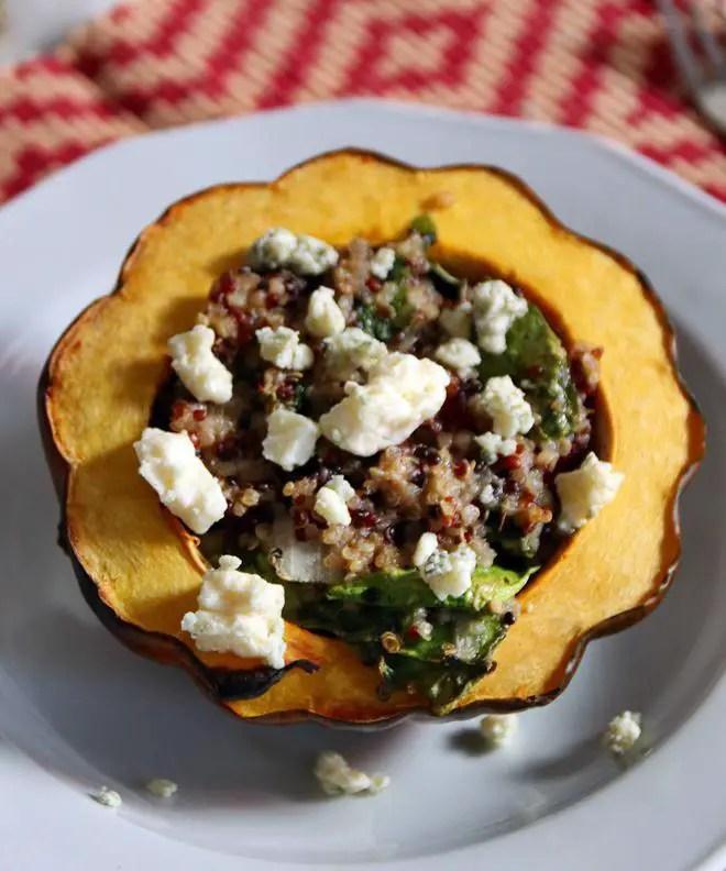 Recipe: Maple Butter Roasted Acorn Squash with Quinoa and Pecans | janavar