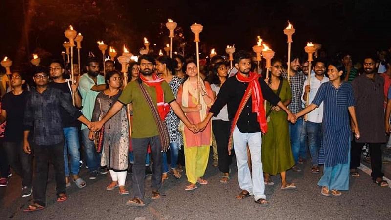 जेएनयू में छात्रसंघ का चुनाव।