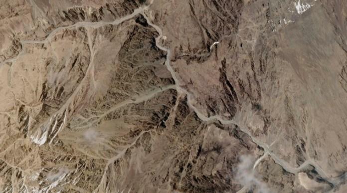 गलवान घाटी इलाका का सैटेलाइट चित्र।