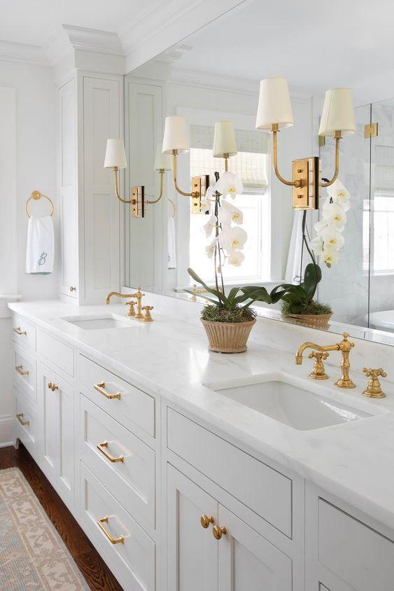 A classic white and brass bathroom design - renovation - remodel - decor - molly basile - circa lighting