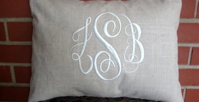 12x16 LInen Monogrammed Pillow Cover