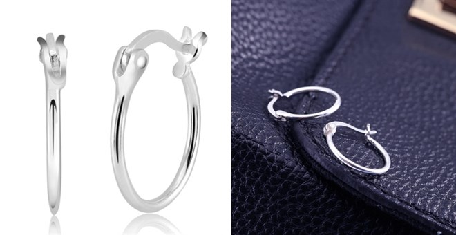 French Lock Hoops   Sterling Silver Metal   Free Shipping