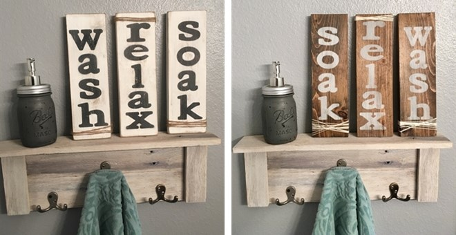 Wash, Soak, Relax Sign | Set of 3