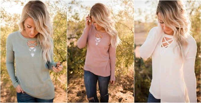 Criss-Cross Lightweight Knit Top