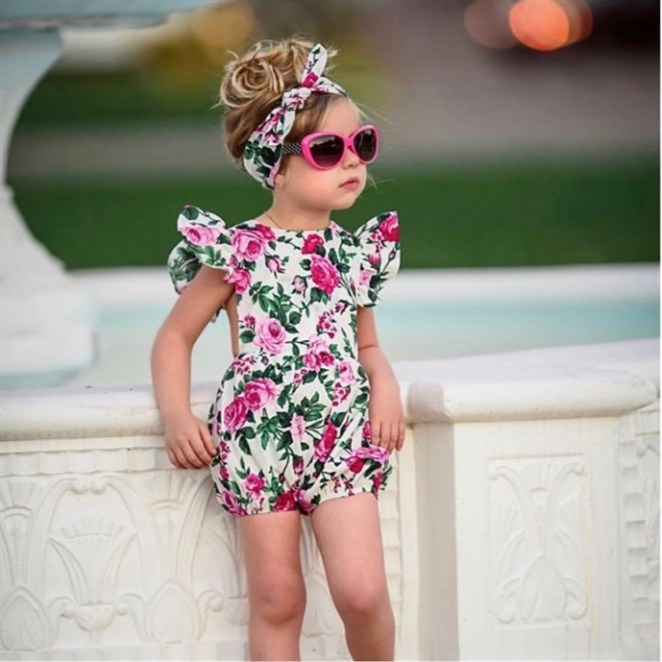 Floral Romper & Matching Headwrap / 5 Styles