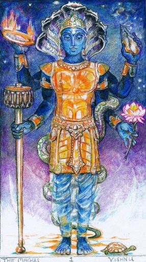 Sacred India Tarot - Visnu the Magician card
