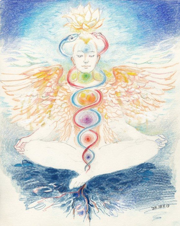 A new winged staff of Hermes. The chakras are coloured in the Queen-scale. Prana is drawn down into the root; simultaneously the lotus ascends.