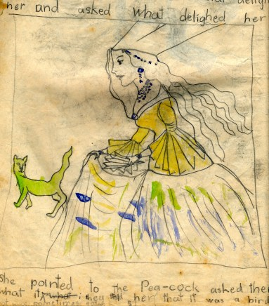 5 princess, green dog