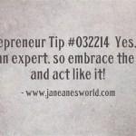 entrepreneur tip expert www.janeanesworld.com