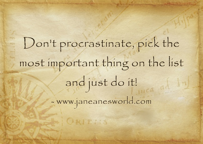 don't procrastinate the most important thing and just do it www.janeanesworld.com