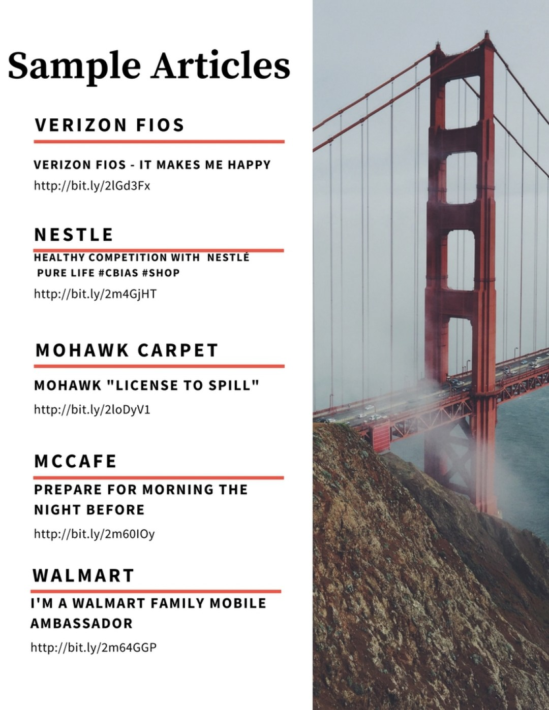 Media Kit Sample Articles