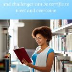 african american woman in a librry with a book and the words Entrepreneur, learn some new tricks because new experiences and challenges can be terrific to meet and overcome