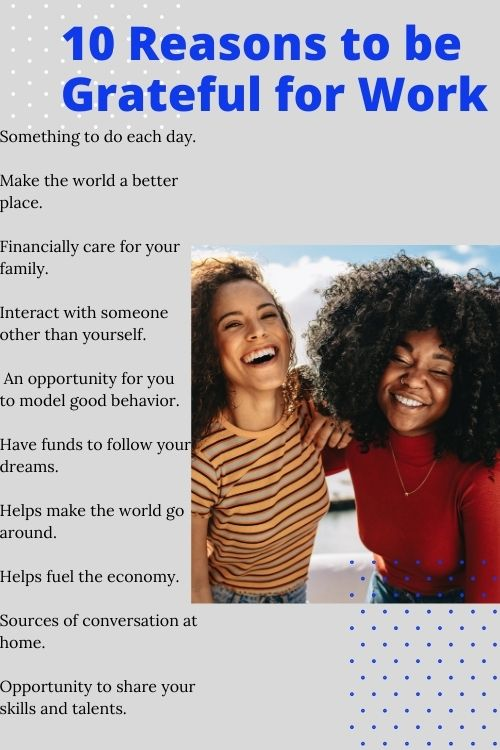 african american women and a chart with 20 reasons to be grateful for work