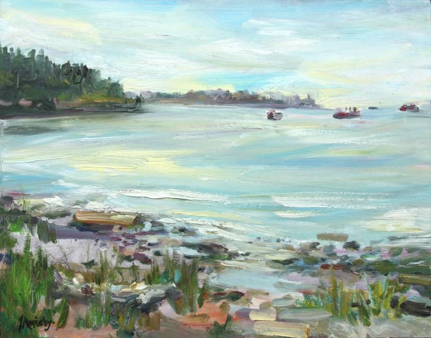 Ambleside Beach - English Bay, 11 x 14 Oil on Board - Plein Air Filmed