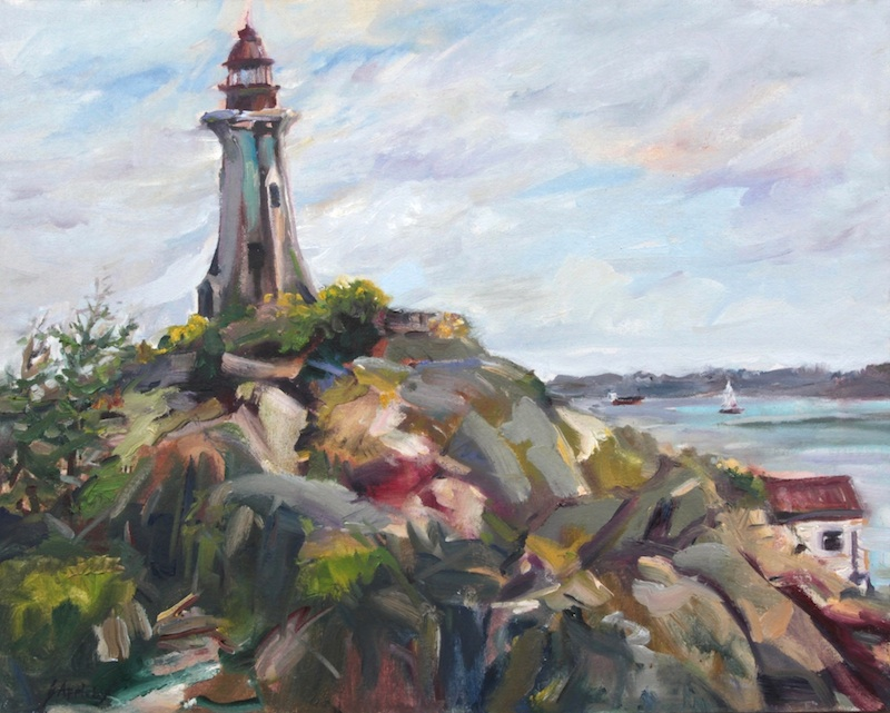 Light House Park, 16 x 20 Oil on Board Plein Air (Video)