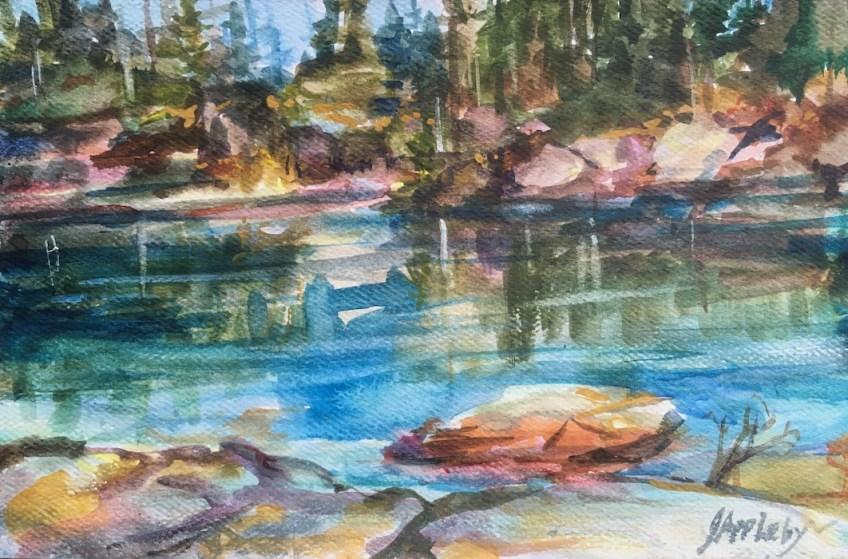 Cabin Lake-Cypress Mt. Watercolour on location